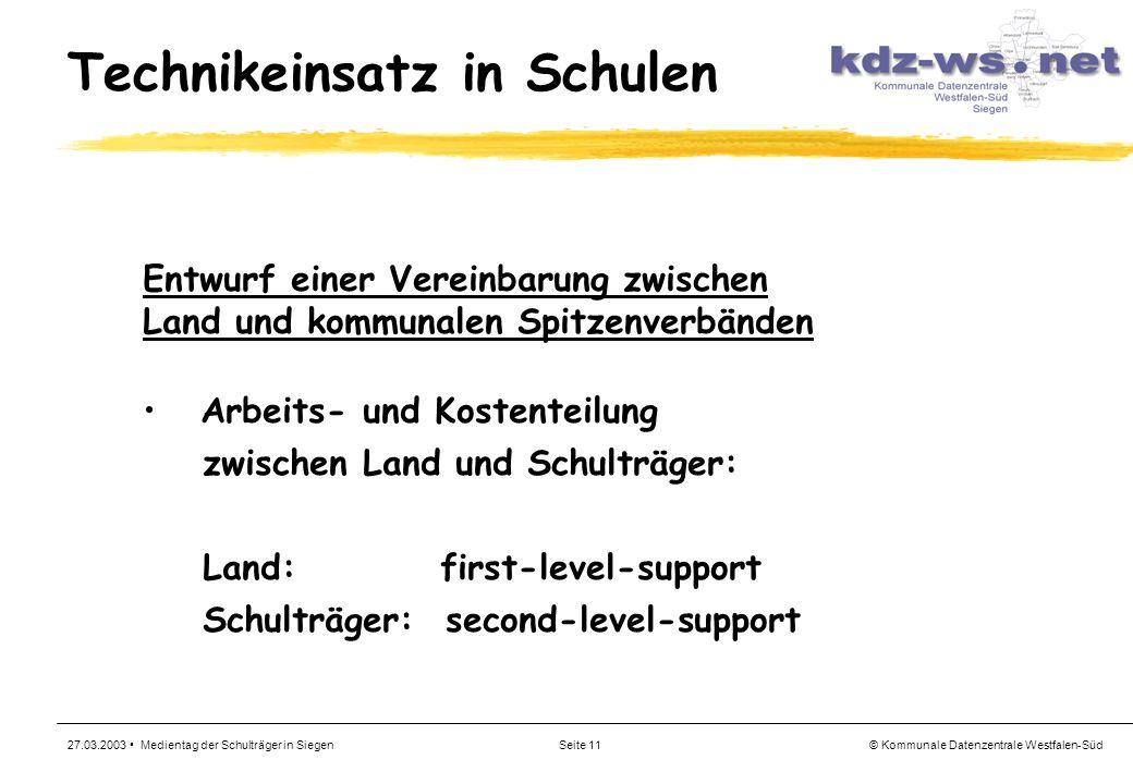 © Kommunale Datenzentrale Westfalen-Süd 27.03.2003 Medientag der Schulträger in SiegenSeite 11 Technikeinsatz in Schulen Entwurf einer Vereinbarung zw