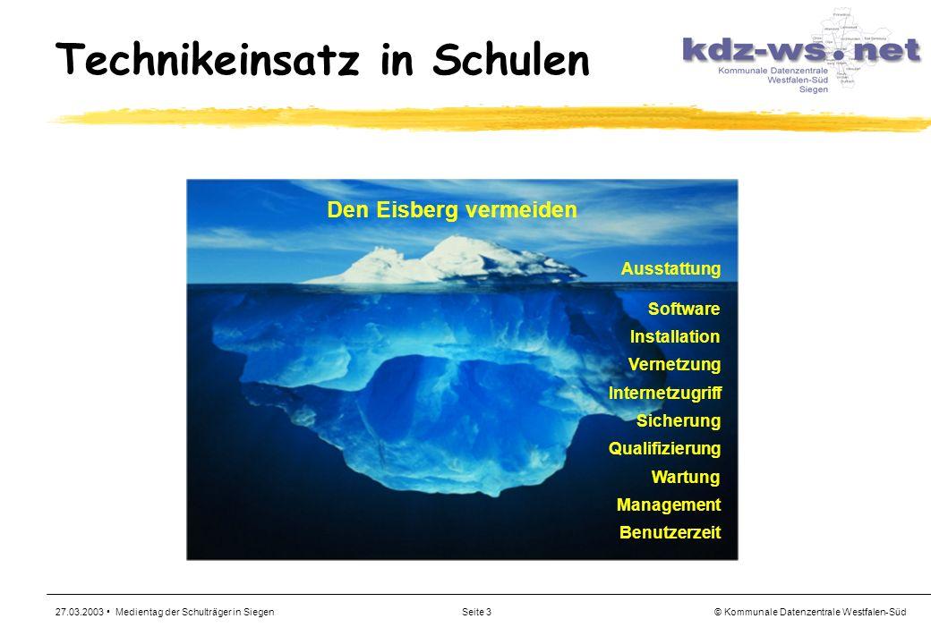 © Kommunale Datenzentrale Westfalen-Süd 27.03.2003 Medientag der Schulträger in SiegenSeite 3 Technikeinsatz in Schulen Den Eisberg vermeiden Ausstatt