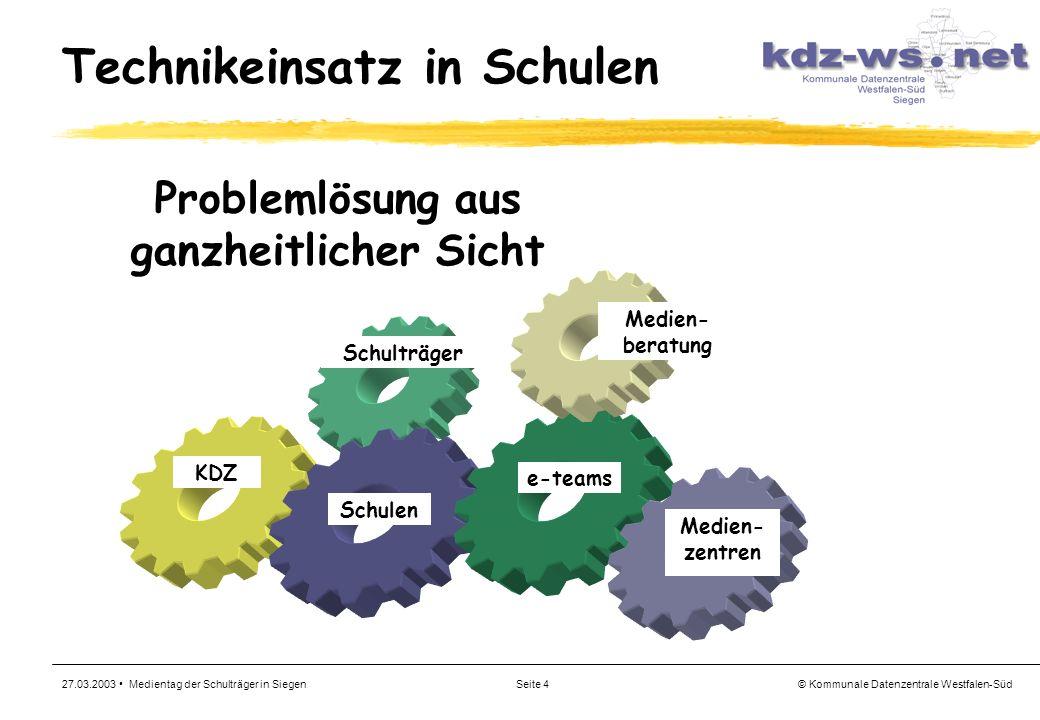 © Kommunale Datenzentrale Westfalen-Süd 27.03.2003 Medientag der Schulträger in SiegenSeite 4 Technikeinsatz in Schulen Schulträger Schulen Medien- be