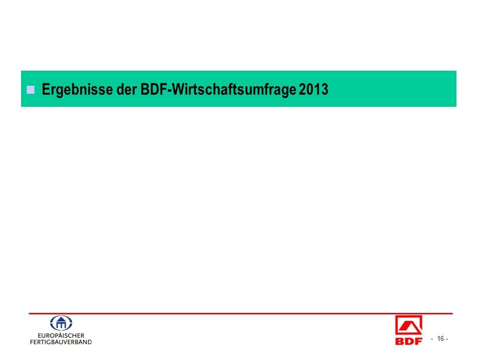 - 16 - Ergebnisse der BDF-Wirtschaftsumfrage 2013