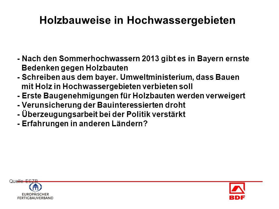 Quelle: ESZB Holzbauweise in Hochwassergebieten - Nach den Sommerhochwassern 2013 gibt es in Bayern ernste Bedenken gegen Holzbauten - Schreiben aus d