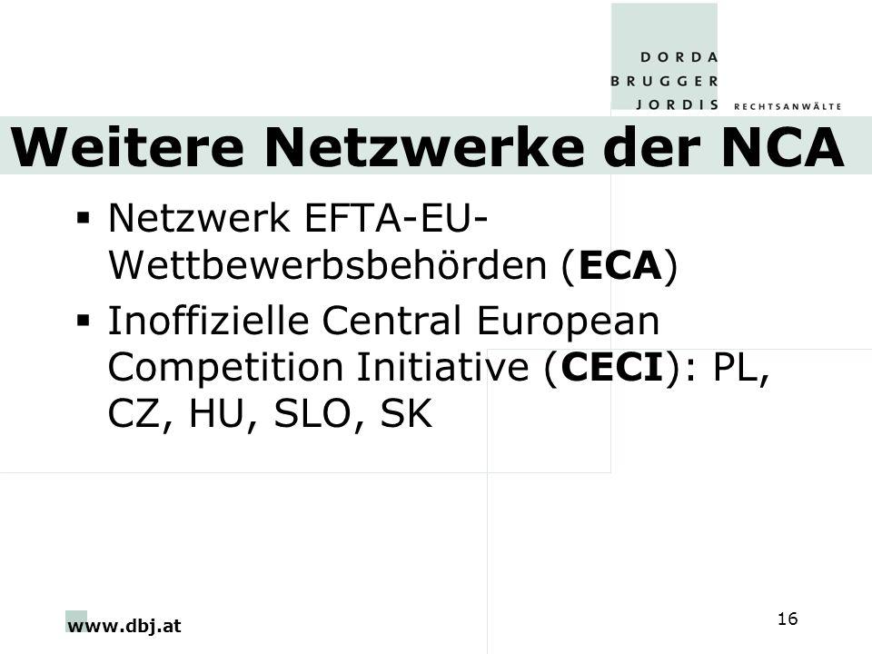 www.dbj.at 16 Weitere Netzwerke der NCA Netzwerk EFTA-EU- Wettbewerbsbehörden (ECA) Inoffizielle Central European Competition Initiative (CECI): PL, C