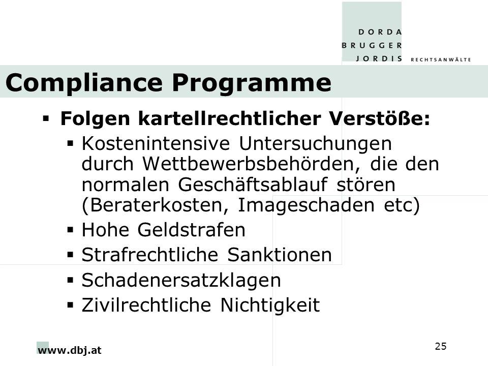 www.dbj.at 25 Compliance Programme Folgen kartellrechtlicher Verstöße: Kostenintensive Untersuchungen durch Wettbewerbsbehörden, die den normalen Gesc