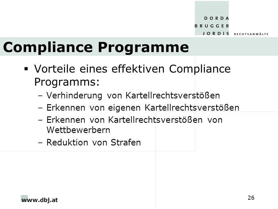 www.dbj.at 26 Compliance Programme Vorteile eines effektiven Compliance Programms: –Verhinderung von Kartellrechtsverstößen –Erkennen von eigenen Kart