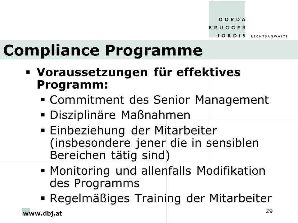 www.dbj.at 29 Compliance Programme Voraussetzungen für effektives Programm: Commitment des Senior Management Disziplinäre Maßnahmen Einbeziehung der M