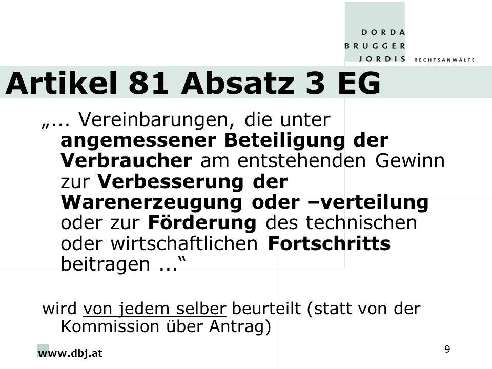 www.dbj.at 9 Artikel 81 Absatz 3 EG... Vereinbarungen, die unter angemessener Beteiligung der Verbraucher am entstehenden Gewinn zur Verbesserung der