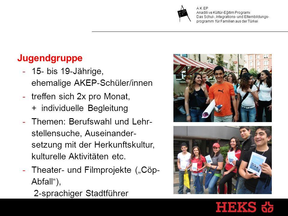 Jugendgruppe -15- bis 19-Jährige, ehemalige AKEP-Schüler/innen -treffen sich 2x pro Monat, + individuelle Begleitung -Themen: Berufswahl und Lehr- stellensuche, Auseinander- setzung mit der Herkunftskultur, kulturelle Aktivitäten etc.