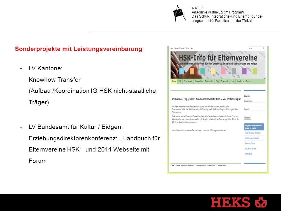Sonderprojekte mit Leistungsvereinbarung -LV Kantone: Knowhow Transfer (Aufbau /Koordination IG HSK nicht-staatliche Träger) -LV Bundesamt für Kultur / Eidgen.