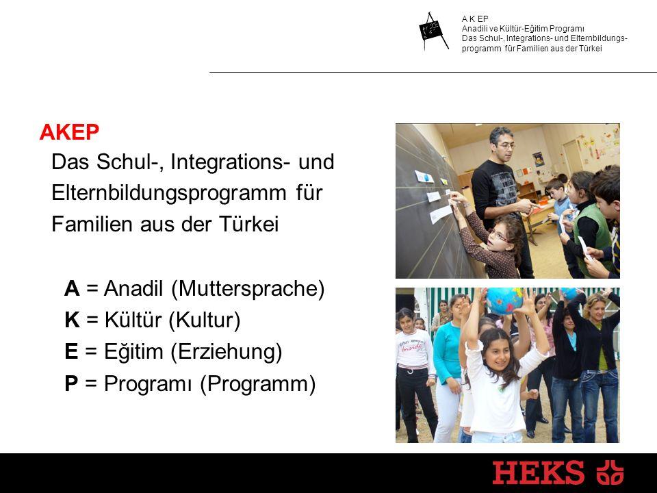 A K EP Anadili ve Kültür-Eğitim Programı Das Schul-, Integrations- und Elternbildungs- programm für Familien aus der Türkei AKEP Das Schul-, Integrati