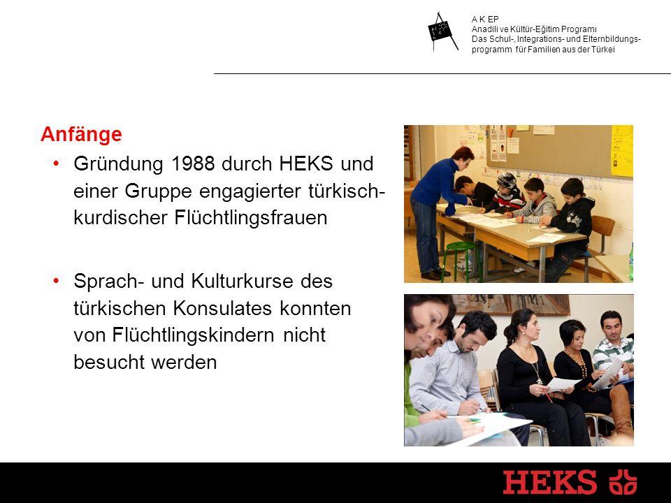 A K EP Anadili ve Kültür-Eğitim Programı Das Schul-, Integrations- und Elternbildungs- programm für Familien aus der Türkei Anfänge Gründung 1988 durc