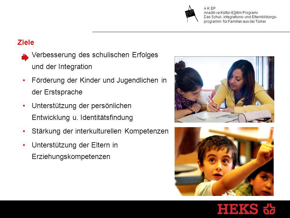 A K EP Anadili ve Kültür-Eğitim Programı Das Schul-, Integrations- und Elternbildungs- programm für Familien aus der Türkei Ziele Verbesserung des schulischen Erfolges und der Integration Förderung der Kinder und Jugendlichen in der Erstsprache Unterstützung der persönlichen Entwicklung u.