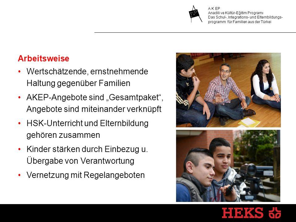 A K EP Anadili ve Kültür-Eğitim Programı Das Schul-, Integrations- und Elternbildungs- programm für Familien aus der Türkei Arbeitsweise Wertschätzend