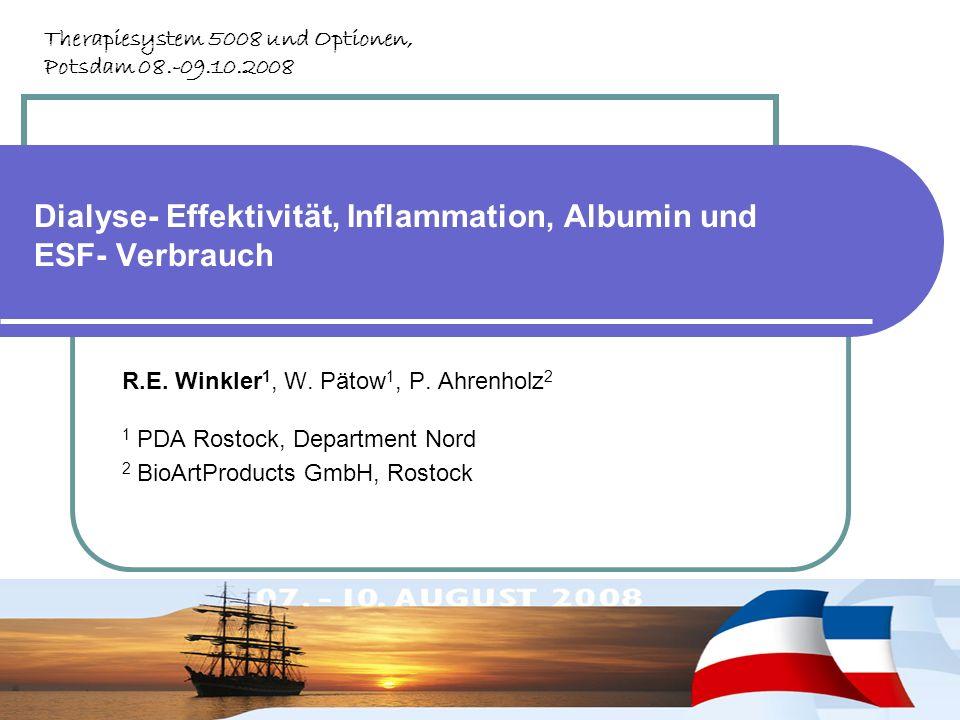 Dialyse- Effektivität, Inflammation, Albumin und ESF- Verbrauch R.E. Winkler 1, W. Pätow 1, P. Ahrenholz 2 1 PDA Rostock, Department Nord 2 BioArtProd
