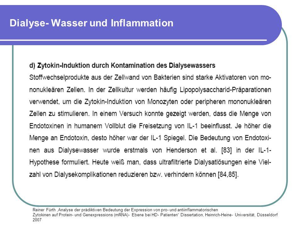 Dialyse- Wasser und Inflammation Reiner Fürth,Analyse der prädiktiven Bedeutung der Expression von pro- und antiinflammatorischen Zytokinen auf Protei