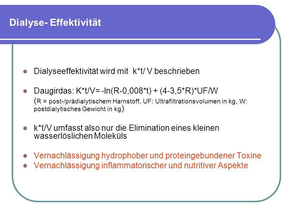 Dialyse- Effektivität Dialyseeffektivität wird mit k*t/ V beschrieben Daugirdas: K*t/V= -ln(R-0,008*t) + (4-3,5*R)*UF/W ( R = post-/prädialytischem Harnstoff, UF: Ultrafiltrationsvolumen in kg, W: postdialytisches Gewicht in kg ) k*t/V umfasst also nur die Elimination eines kleinen wasserlöslichen Moleküls Vernachlässigung hydrophober und proteingebundener Toxine Vernachlässigung inflammatorischer und nutritiver Aspekte