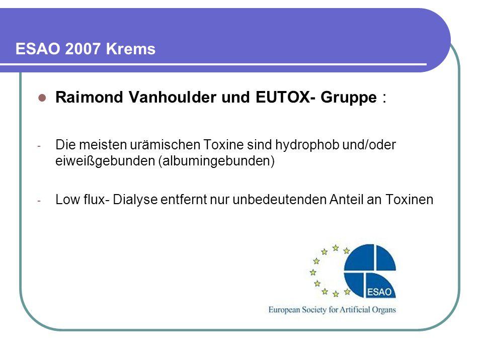 ESAO 2007 Krems Raimond Vanhoulder und EUTOX- Gruppe : - Die meisten urämischen Toxine sind hydrophob und/oder eiweißgebunden (albumingebunden) - Low flux- Dialyse entfernt nur unbedeutenden Anteil an Toxinen