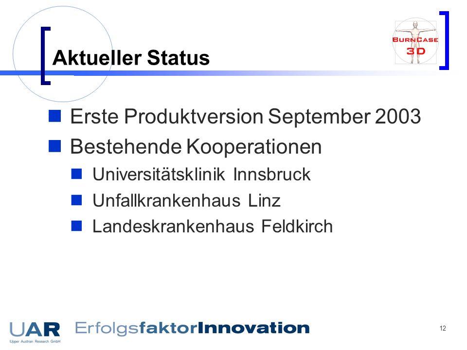 12 Aktueller Status Erste Produktversion September 2003 Bestehende Kooperationen Universitätsklinik Innsbruck Unfallkrankenhaus Linz Landeskrankenhaus