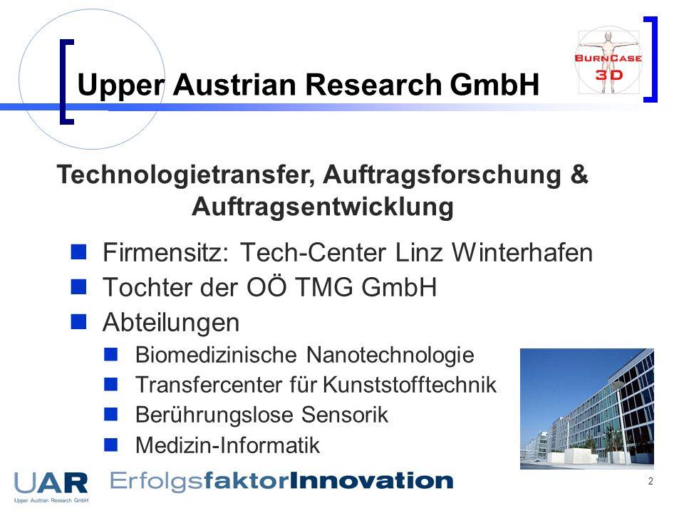 2 Upper Austrian Research GmbH Firmensitz: Tech-Center Linz Winterhafen Tochter der OÖ TMG GmbH Abteilungen Biomedizinische Nanotechnologie Transferce