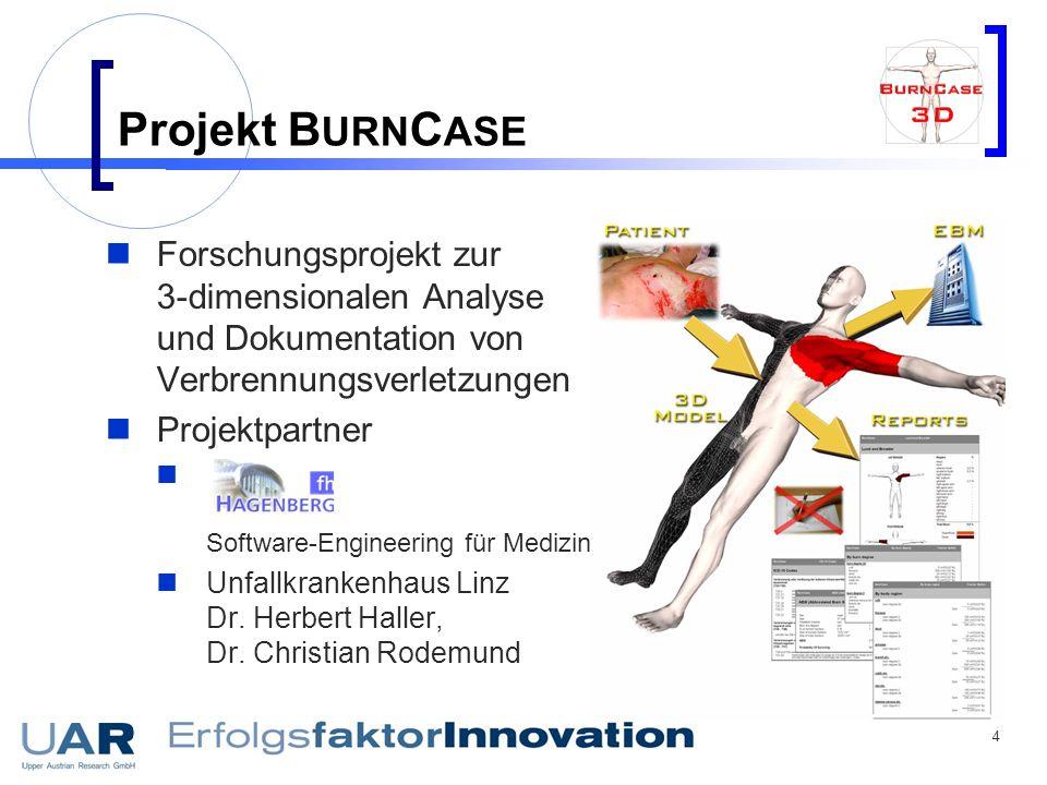 4 Projekt B URN C ASE Forschungsprojekt zur 3-dimensionalen Analyse und Dokumentation von Verbrennungsverletzungen Projektpartner Software-Engineering