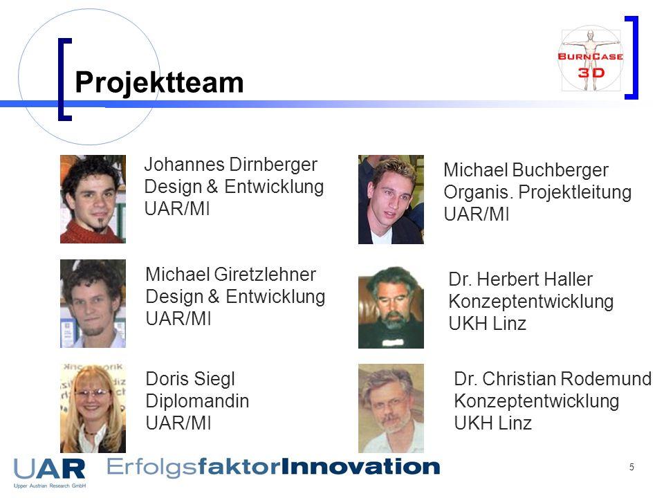 5 Projektteam Johannes Dirnberger Design & Entwicklung UAR/MI Michael Giretzlehner Design & Entwicklung UAR/MI Doris Siegl Diplomandin UAR/MI Michael