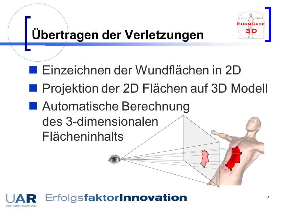 8 Übertragen der Verletzungen Einzeichnen der Wundflächen in 2D Projektion der 2D Flächen auf 3D Modell Automatische Berechnung des 3-dimensionalen Fl