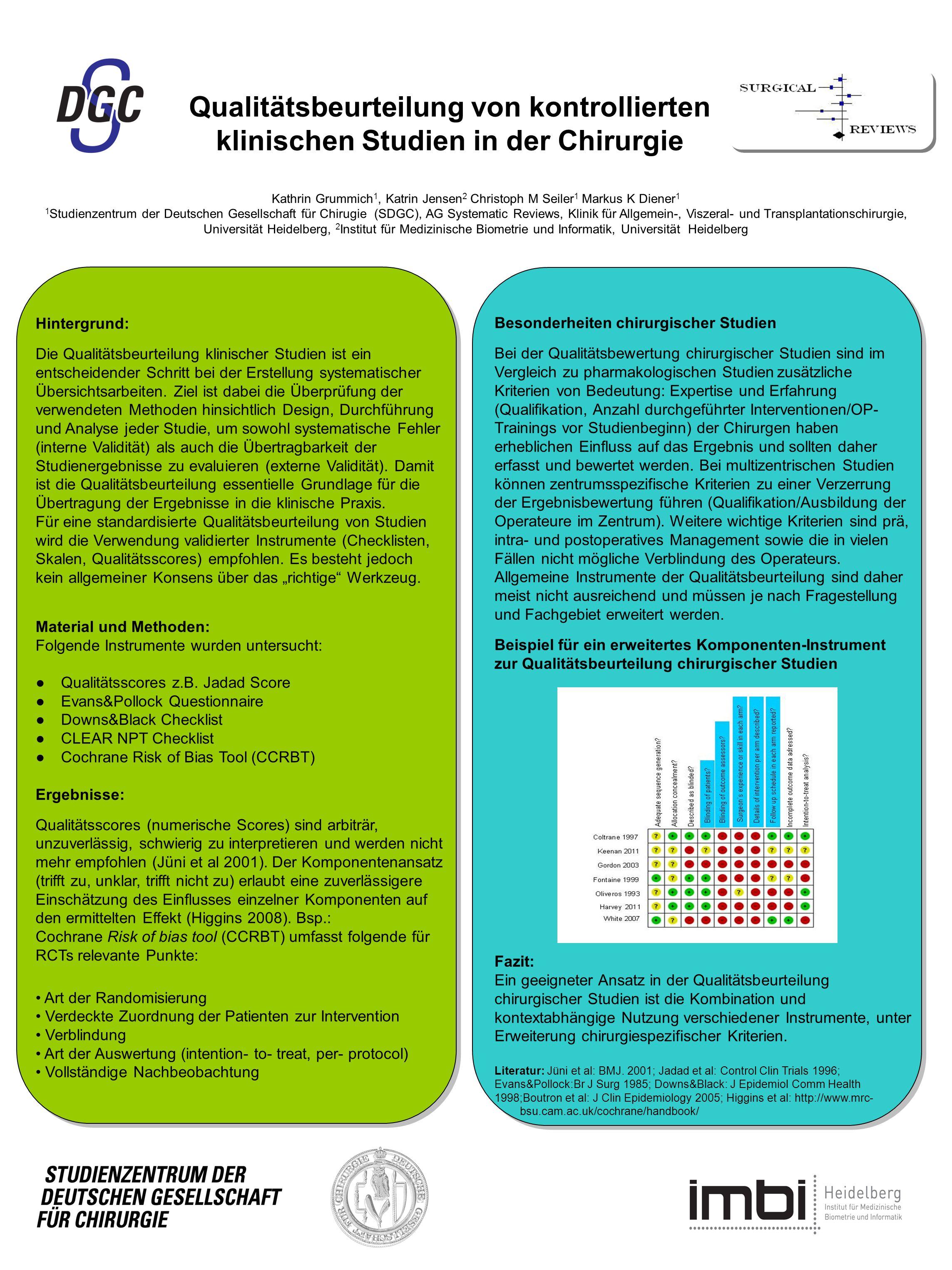 Kathrin Grummich 1, Katrin Jensen 2 Christoph M Seiler 1 Markus K Diener 1 1 Studienzentrum der Deutschen Gesellschaft für Chirugie (SDGC), AG Systema