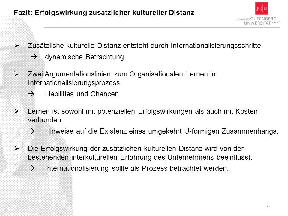 14 Zusätzliche kulturelle Distanz entsteht durch Internationalisierungsschritte. dynamische Betrachtung. Zwei Argumentationslinien zum Organisationale