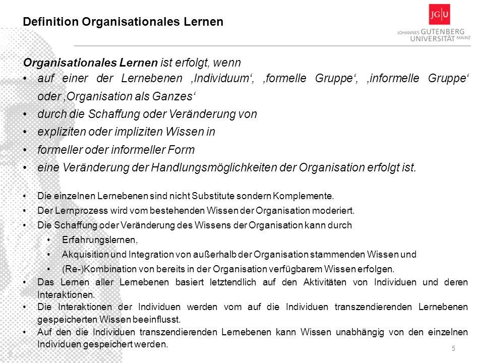 5 Definition Organisationales Lernen Organisationales Lernen ist erfolgt, wenn auf einer der Lernebenen Individuum, formelle Gruppe, informelle Gruppe oder Organisation als Ganzes durch die Schaffung oder Veränderung von expliziten oder impliziten Wissen in formeller oder informeller Form eine Veränderung der Handlungsmöglichkeiten der Organisation erfolgt ist.