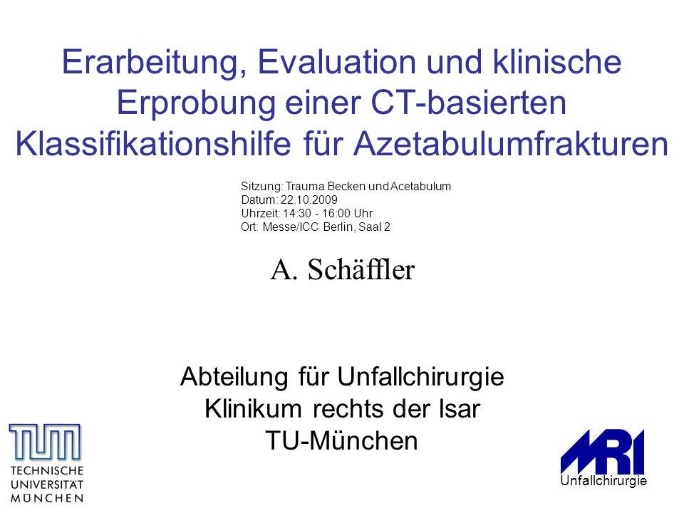 A. Schäffler Abteilung für Unfallchirurgie Klinikum rechts der Isar TU-München Erarbeitung, Evaluation und klinische Erprobung einer CT-basierten Klas