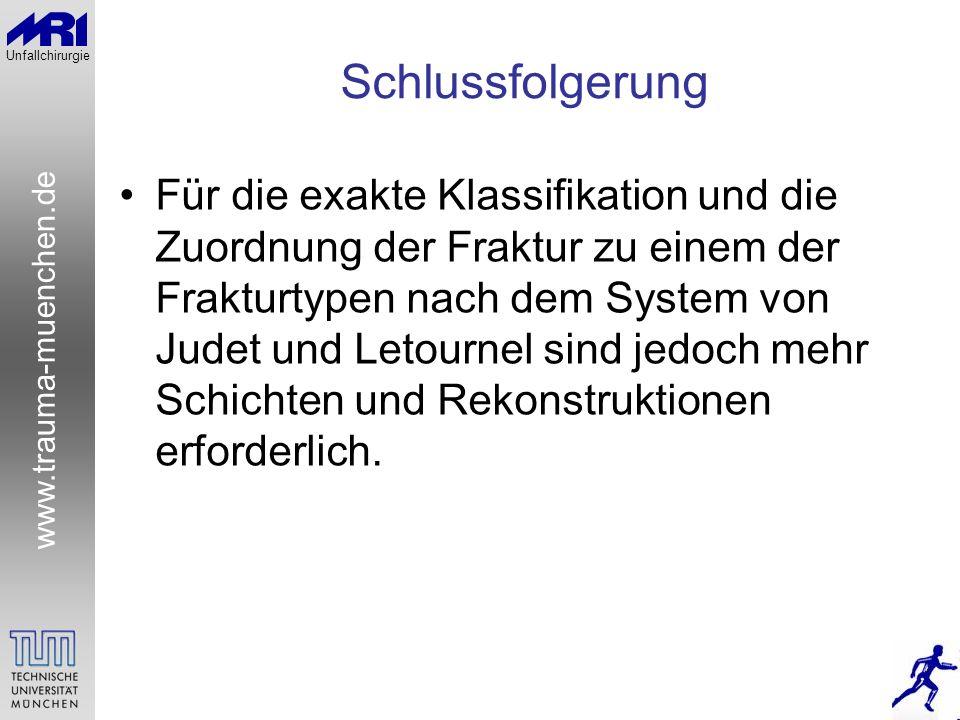 www.trauma-muenchen.de Unfallchirurgie Schlussfolgerung Für die exakte Klassifikation und die Zuordnung der Fraktur zu einem der Frakturtypen nach dem