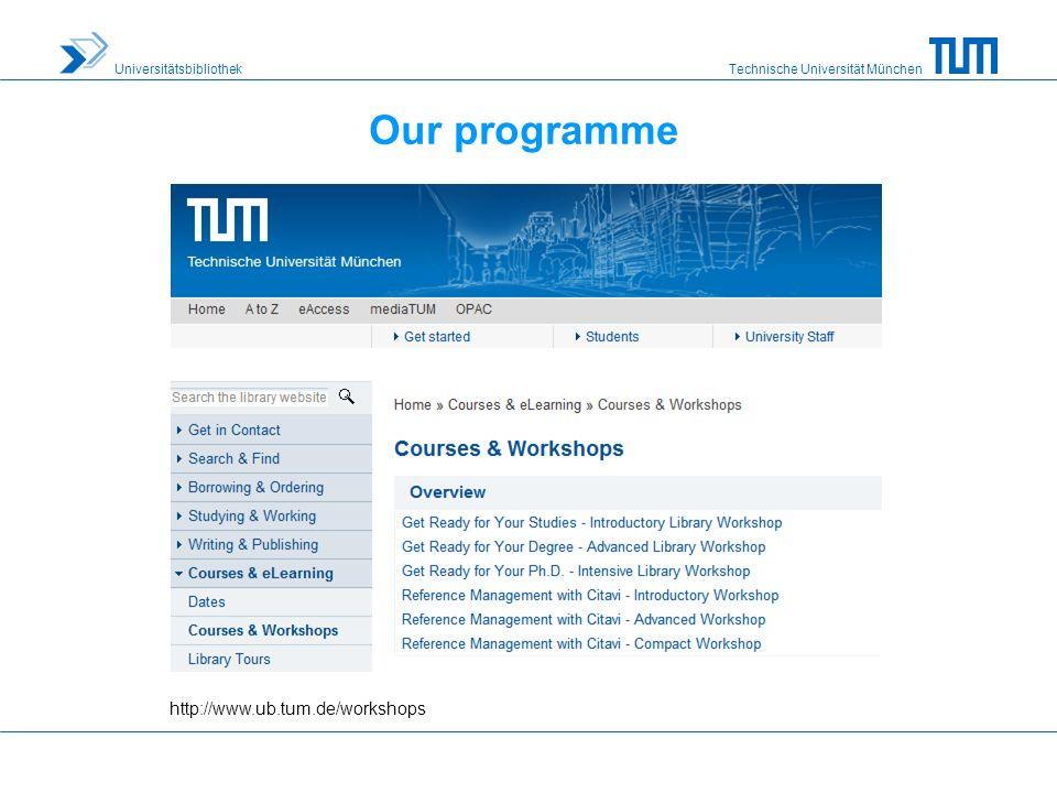 Technische Universität München Universitätsbibliothek Our programme http://www.ub.tum.de/workshops