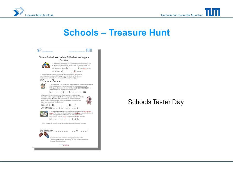 Technische Universität München Universitätsbibliothek Schools – Treasure Hunt Schools Taster Day