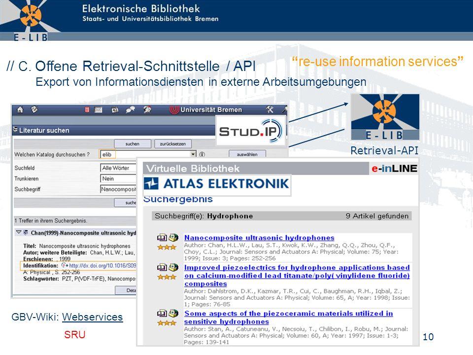 10 Suchergebnis (XML) Universität Bremen Zentrales Kursmanagement Retrieval-API // C.