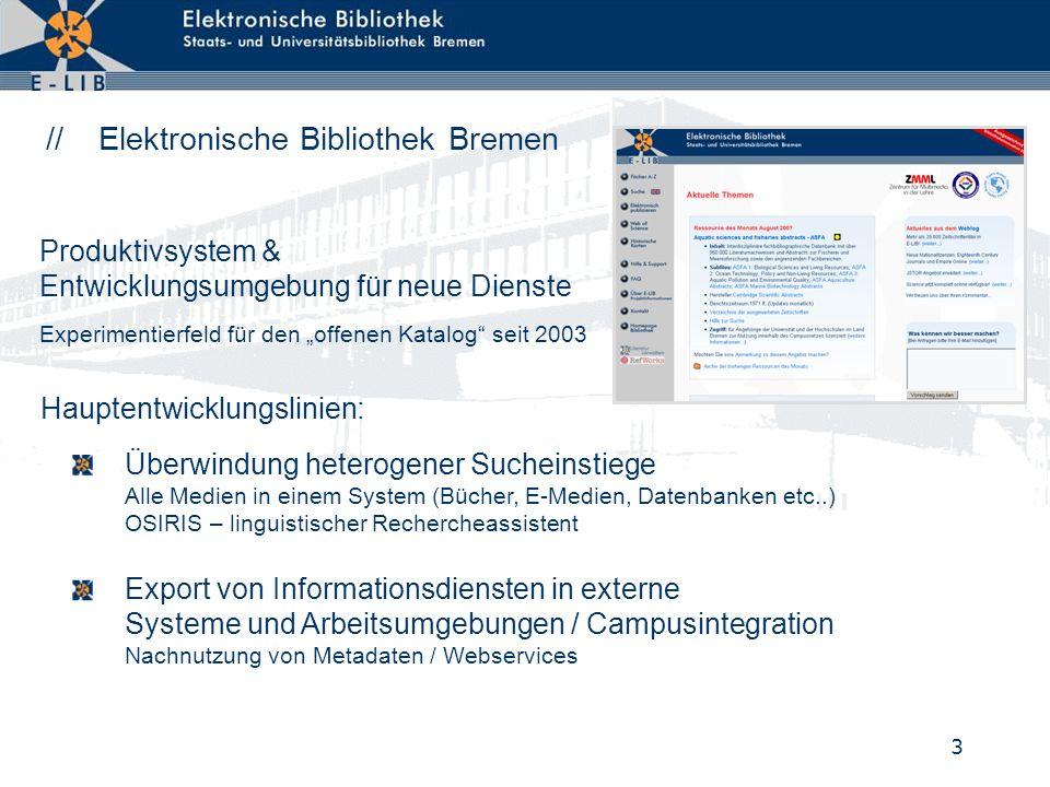 3 // Elektronische Bibliothek Bremen Überwindung heterogener Sucheinstiege Alle Medien in einem System (Bücher, E-Medien, Datenbanken etc..) OSIRIS –