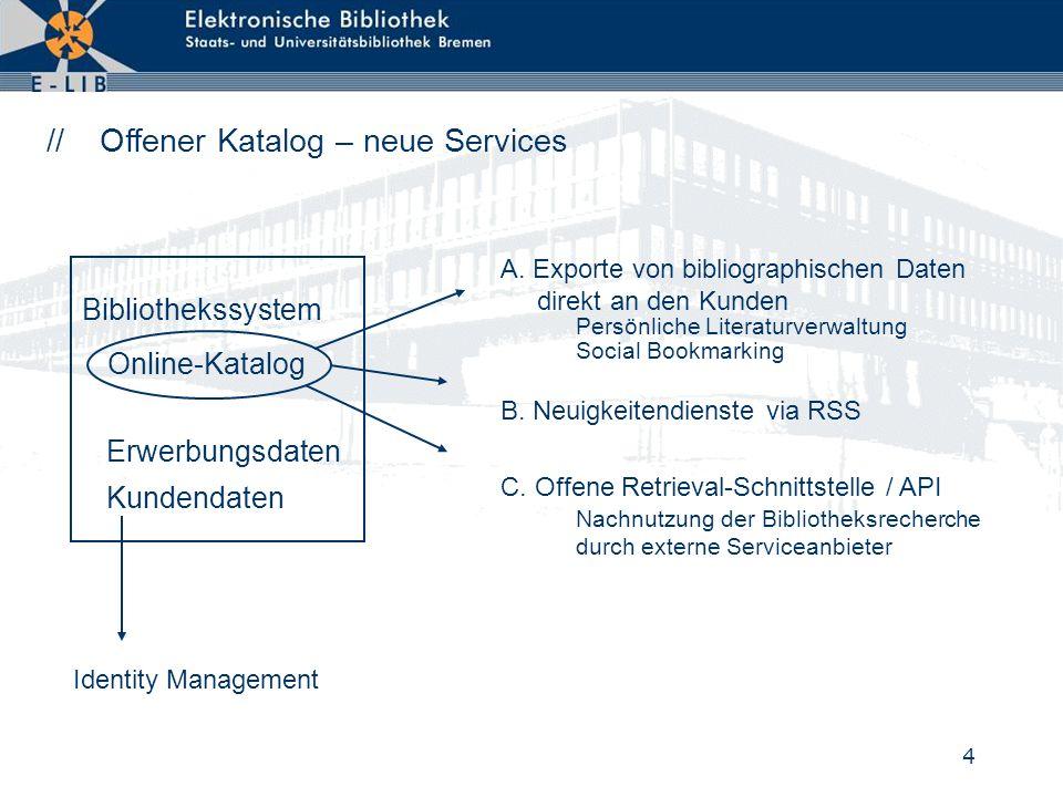 4 // Offener Katalog – neue Services Online-Katalog A. Exporte von bibliographischen Daten direkt an den Kunden C. Offene Retrieval-Schnittstelle / AP