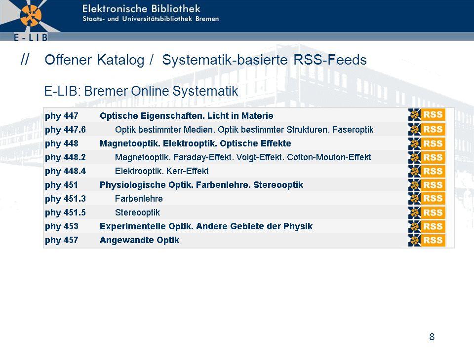 8 // Offener Katalog / Systematik-basierte RSS-Feeds E-LIB: Bremer Online Systematik