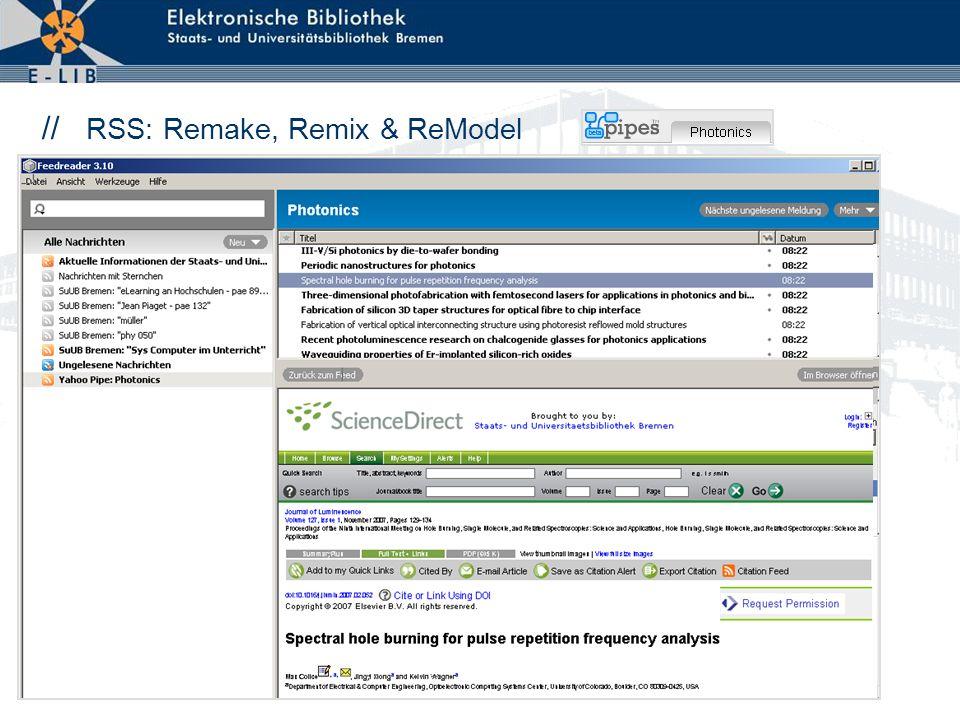 9 E-LIB E-Journals Verlag 3 // RSS: Remake, Remix & ReModel Fach-CommunityE-Journals Verlag 1 E-Journals Verlag 2
