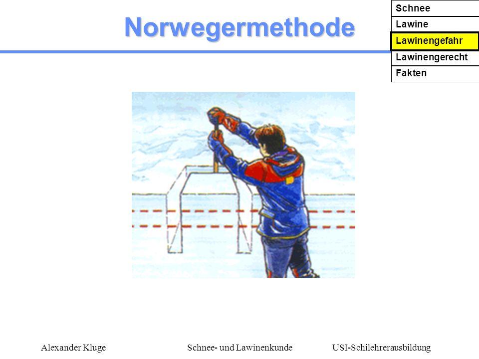 USI-Schilehrerausbildung Alexander KlugeSchnee- und Lawinenkunde Norwegermethode Schnee Lawine Lawinengefahr Lawinengerecht Fakten