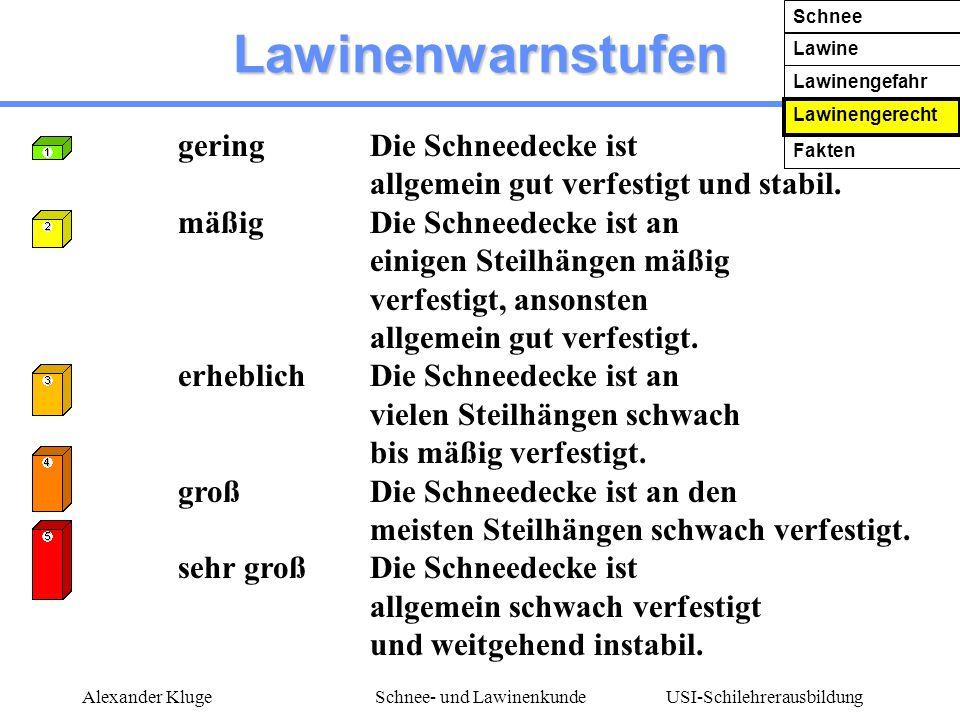 USI-Schilehrerausbildung Alexander KlugeSchnee- und Lawinenkunde Lawinenwarnstufen geringDie Schneedecke ist allgemein gut verfestigt und stabil. mäßi