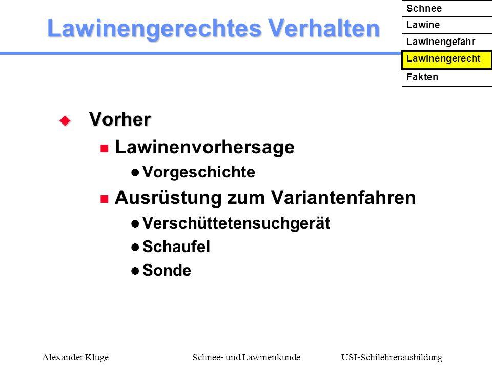 USI-Schilehrerausbildung Alexander KlugeSchnee- und Lawinenkunde Lawinengerechtes Verhalten Vorher Vorher Lawinenvorhersage Vorgeschichte Ausrüstung z