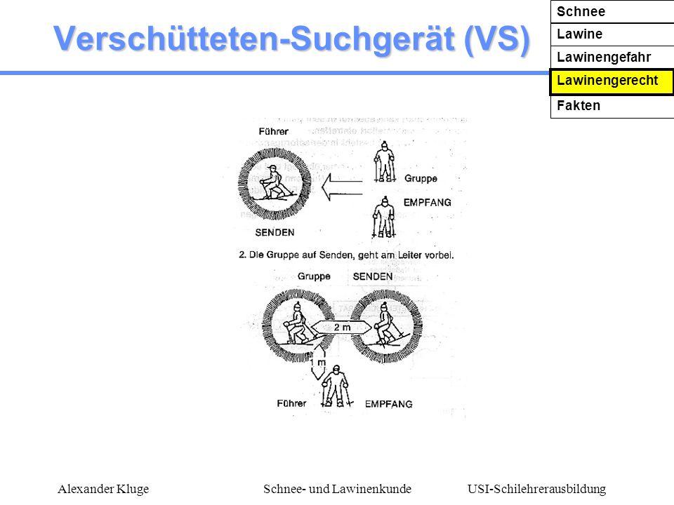 USI-Schilehrerausbildung Alexander KlugeSchnee- und Lawinenkunde Verschütteten-Suchgerät (VS) Schnee Lawine Lawinengefahr Lawinengerecht Fakten
