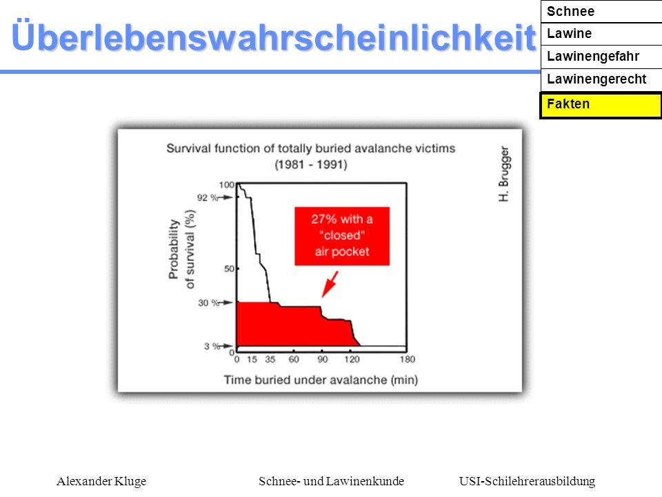 USI-Schilehrerausbildung Alexander KlugeSchnee- und Lawinenkunde berlebenswahrscheinlichkeit Überlebenswahrscheinlichkeit Schnee Lawine Lawinengefahr