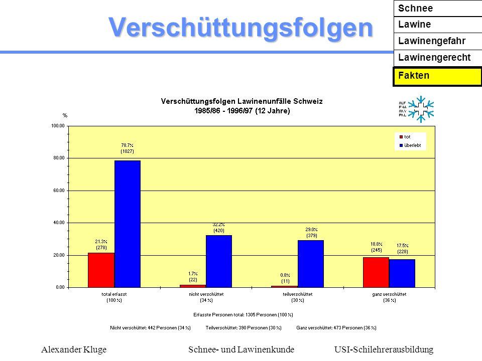 USI-Schilehrerausbildung Alexander KlugeSchnee- und Lawinenkunde Verschüttungsfolgen Schnee Lawine Lawinengefahr Lawinengerecht Fakten