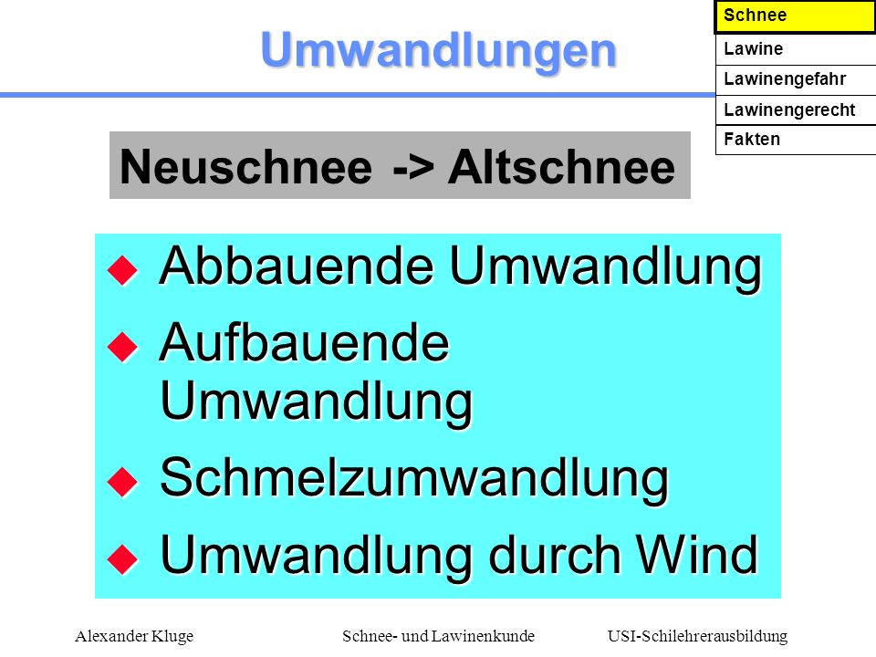 USI-Schilehrerausbildung Alexander KlugeSchnee- und Lawinenkunde Wenn ich von einer Lawine erfaßt werde Weg mit Stöcken, Schi und Rucksack Weg mit Stöcken, Schi und Rucksack Schwimmbewegungen Schwimmbewegungen Kauerstellung => ATEMHHLE Kauerstellung => ATEMHÖHLE Schnee Lawine Lawinengefahr Lawinengerecht Fakten