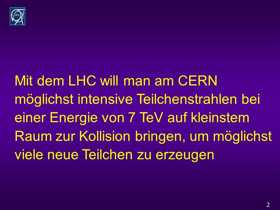 2 Mit dem LHC will man am CERN möglichst intensive Teilchenstrahlen bei einer Energie von 7 TeV auf kleinstem Raum zur Kollision bringen, um möglichst viele neue Teilchen zu erzeugen