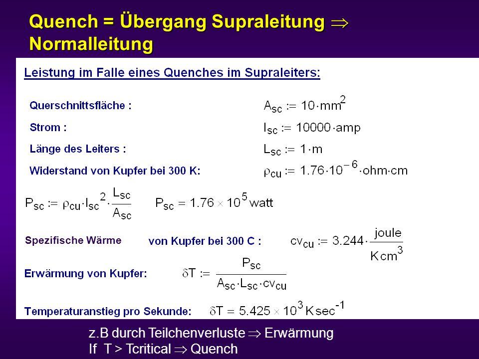 z.B durch Teilchenverluste Erwärmung If T > Tcritical Quench T=temperature margin (1.4 K for LHC) Tc Bc Quench = Übergang Supraleitung Normalleitung Spezifische Wärme
