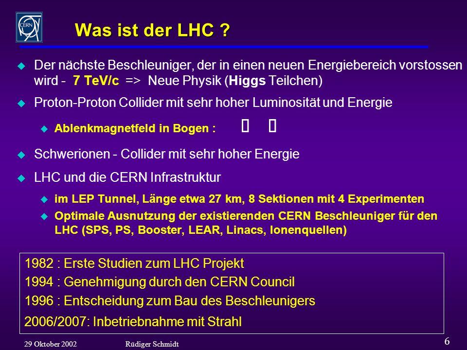 6 29 Oktober 2002Rüdiger Schmidt Was ist der LHC .