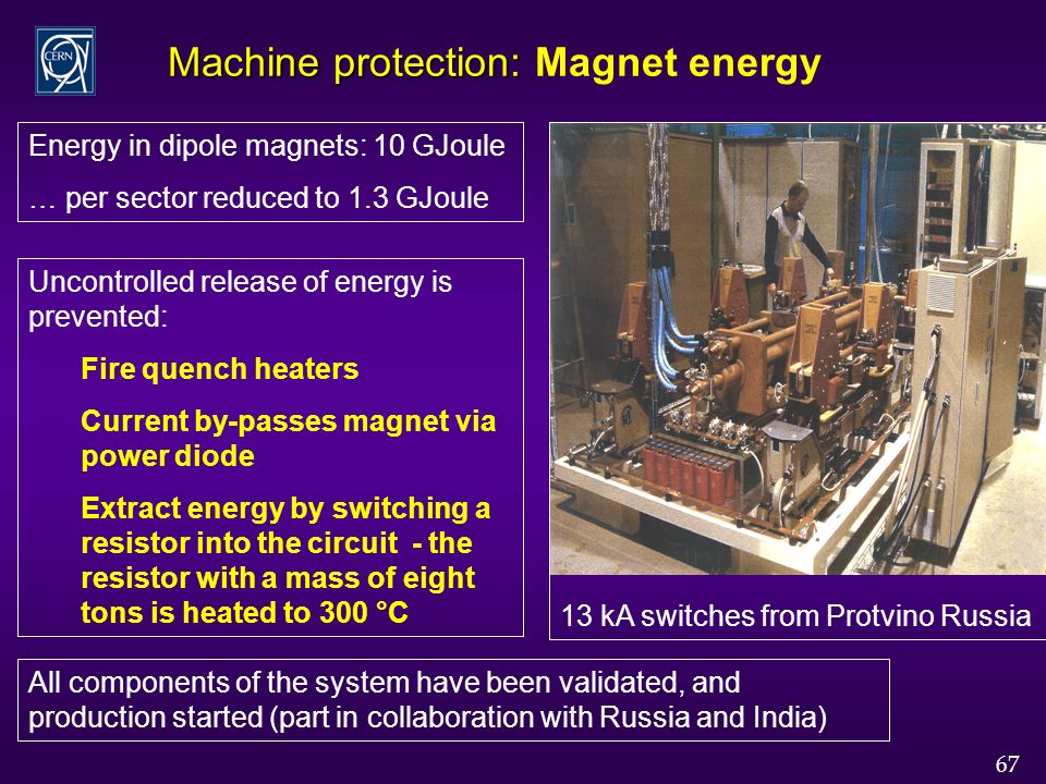 67 Machine protection: Machine protection: Magnet energy Energy in dipole magnets: 10 GJoule … per sector reduced to 1.3 GJoule Uncontrolled release of energy is prevented: Fire quench heaters Current by-passes magnet via power diode Extract energy by switching a resistor into the circuit - the resistor with a mass of eight tons is heated to 300 °C All components of the system have been validated, and production started (part in collaboration with Russia and India) 13 kA switches from Protvino Russia