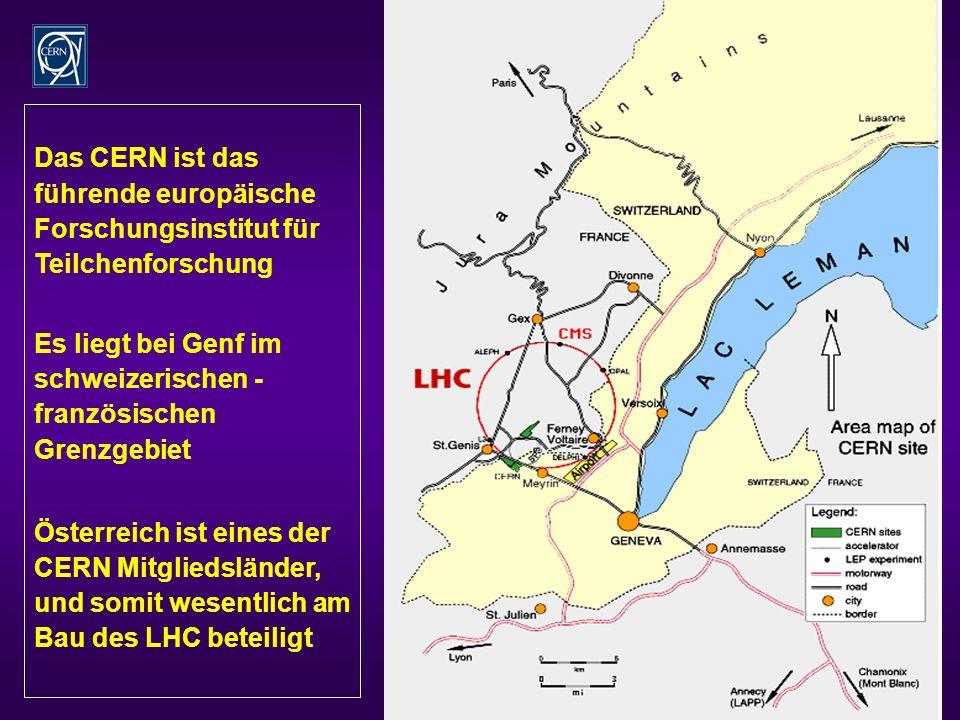 7 Das CERN ist das führende europäische Forschungsinstitut für Teilchenforschung Es liegt bei Genf im schweizerischen - französischen Grenzgebiet Österreich ist eines der CERN Mitgliedsländer, und somit wesentlich am Bau des LHC beteiligt