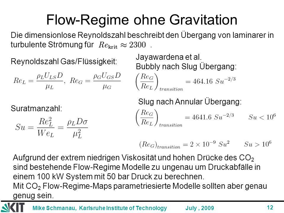 Mike Schmanau, Karlsruhe Institute of Technology 12 July, 2009 Flow-Regime ohne Gravitation Aufgrund der extrem niedrigen Viskosität und hohen Drücke des CO 2 sind bestehende Flow-Regime Modelle zu ungenau um Druckabfälle in einem 100 kW System mit 50 bar Druck zu berechnen.